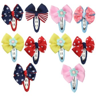 10 PCS Assorted Style Baby Kids Girls Bowknot Hair Snaps Barrettes Clips Pins Hair Accessories Birthday Children's Day Gift - intl