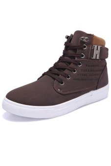 LALANG Casual Men High Cut Canvas Shoes Sneakers Sports Brown - intl