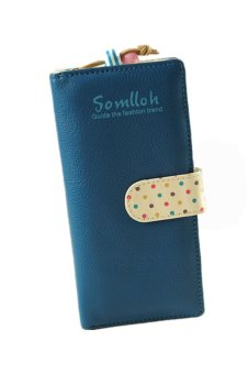 Zip Bag Card Holder Long Wallet (Blue)