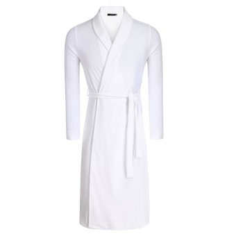Cyber Avidlove Fashion Men's Robe Kimono Collar Bathrobe Long Sleepwear (White) - Intl