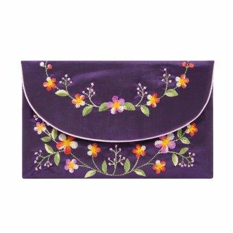 Ví cầm tay nắp thư Hoian Gifts vải lụa thêu hoa (Tím sẫm) HA-51S