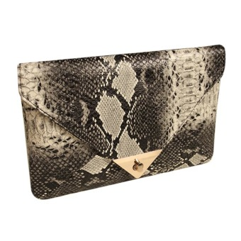 Women's Faux Leather Snake Skin Clutch (Black) - Intl