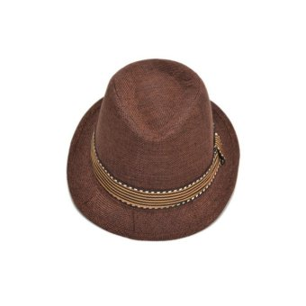 Moonar Kids Unisex Fedora Hat Contrast Trim Cool Jazz Hat Trilby Cap Chapean (coffee) - intl