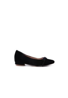 Giày mũi nhọn nơ dây nhung đen DL998