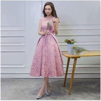 Đầm Xòe Dự Tiệc Vạt Bầu Phối Nơ Eo Hana Fashion