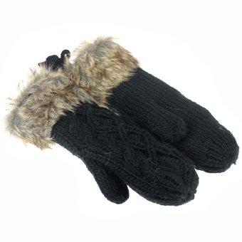 Women Winter thicking Mittens Knitted Warm Fur Halter Wrist Gloves Black - Intl