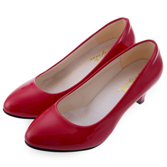 Elegant Ladies Shallow Mouth Low Heel Sandals Shoes(Red) - intl
