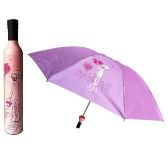 Outdoor Wine Bottle Sun Rain Folding UV Umbrella Fashion Girl Boy #10 Pink - intl