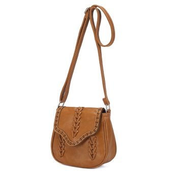 New Fashion Women Crossbody Bag PU Leather Hollow Out Woven Braided Vintage Casual Shoulder Bag Brown - Intl