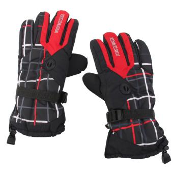 BolehDeals 1 Pair Men's Waterproof Breathable Snow Sport Ski Sports Gloves -Red Black - intl