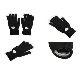 Flashing Gloves Glow 7 Mode Rave Light Finger Lighting Mitt Black (Intl) - intl