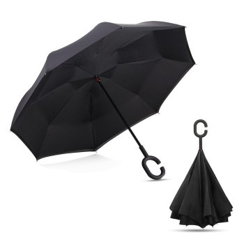 niceEshop Inverted Umbrella Double Layer Windproof Reverse Umbrella For Car And Outdoor Use, Black - intl