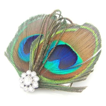 Women Lady Girl Beautiful Peacock Feather Bridal Weddings Hair Clip Pin Hairpin