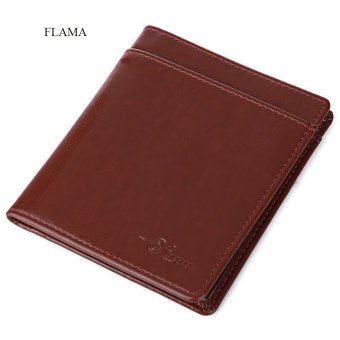 FLAMA Solid Color Coining Letter Open Vertical Thin Wallet for Unisex(Brown) - intl