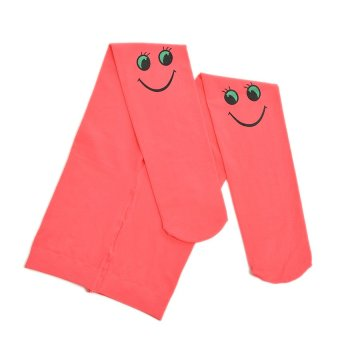HKS Autumn Kids Tights Velvet Smiley Pattern Watermelonred - intl