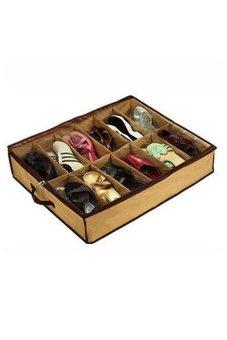 Fancyqube 12 Grid Transparent Cover Non-woven Storage Shoe Box Color As Picture Drop Shipping HG-1829-KK Khaki