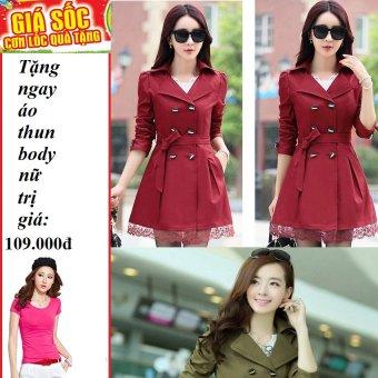 Áo khoác kaki blaze phối ren 2 lớp (Đỏ đô) + Tặng 1 áo thun body nữ