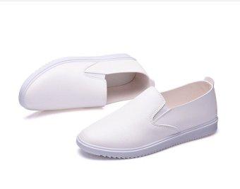 Giày nam slip on Da trơn (Trắng)