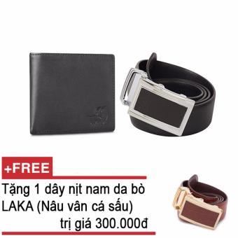Mua Bộ ví và thắt lưng nam da bò thật LAKA đen trơn + Tặng 01 thắt lưng nam da bò LAKA (Nâu cá sấu) trị giá 300000 giá tốt nhất
