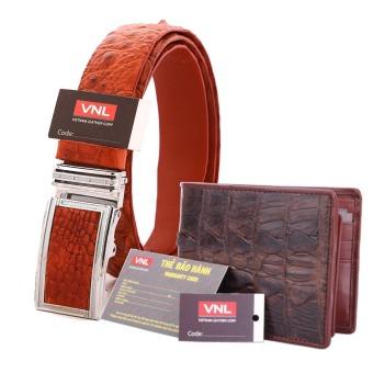 Bộ thắt lưng và ví nam da cá sấu thật chính hãng Da Giày Việt Nam VNL024ZL326 (Nâu)