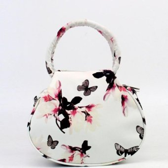 Women Floral leather Shoulder Bag Satchel Handbag Retro Messenger Bag White - intl