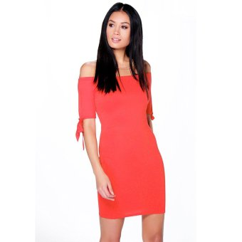 Gamiss Off-Shoulder Dress Pure Color Horizontal Collar (Watermelon Red) - Intl