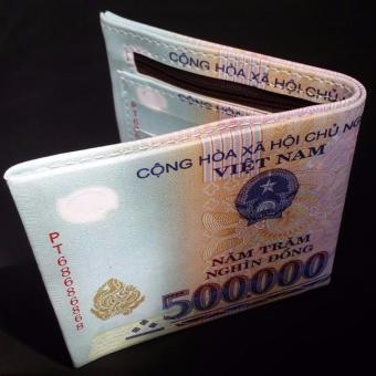 Bóp Ví Da In Hình Tiền 500 nđ