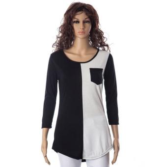 Casual Scoop Neck Color Block 3/4 Sleeve T-Shirt For Women - intl