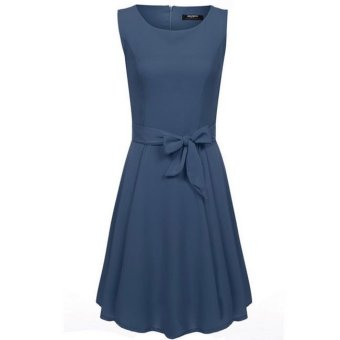 Cyber Zeagoo Casual O-Neck Sleeveless A-line Pleated Dress (Blue) - Intl