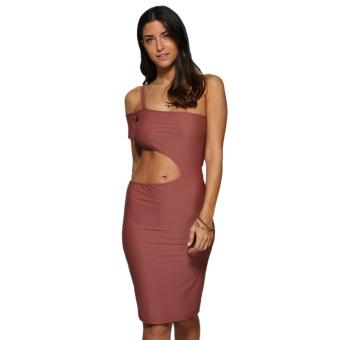 Women One Shoulder Elastic Bodycon Dress (Dark Auburn) - intl
