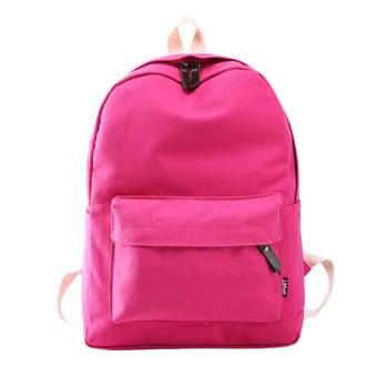 Women Canvas School Bag Girl Backpack Travel Rucksack Shoulder Bag Hot pink (Intl)