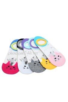 Bộ 5 đôi vớ lười xteen trong suôt hình mèo