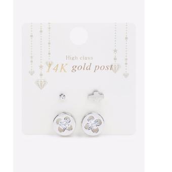 Bông tai mạ bạc/ mạ vàng 14K đính pha lê swarovksi Hàn Quốc nhập khẩu màu bạc