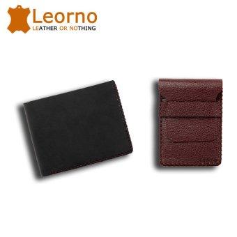 Bộ 01 ví da bò handmade VD04 ngang Đen + 01 ví mini da bò handmade VD08 nâu đỏ
