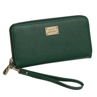 Women Girl Lady Zipper PU Leather Long Clutch Wallet Purse with Card Holder Money Bag Solid Color Green - intl