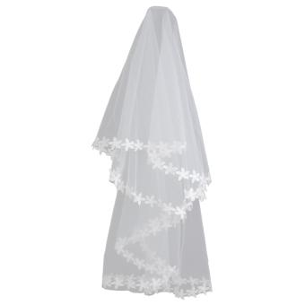 White Elbow Bridal Wedding Veil Without Comb Lace Applique Edge - Intl