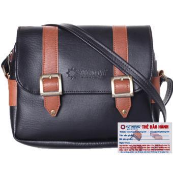 HL6163 - Túi xách phối viền Huy Hoàng 2 khóa màu đen
