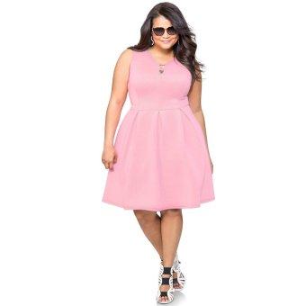 V-neck Slim Over Sizes Woman Dress(Pink) - Intl