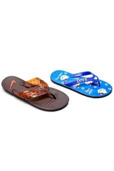 Bộ 2 đôi dép kẹp nam nữ HUỲNH TIÊN HTDNN-010 (Nâu và xanh)