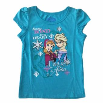 Áo thun tay ngắn bé gái Disney Frozen Strong Heart Elsa Anna size 5