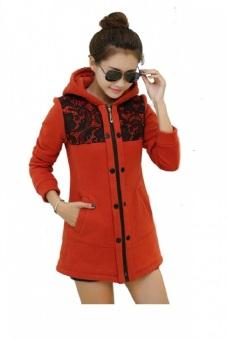 Áo khoác nữ form dài phối ren (Đỏ)