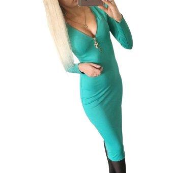 Women Dresses Zipper Long Sleeves Design Green - Intl
