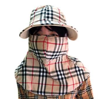 Mũ khẩu trang chống nắng hai lớp chống tia cực tím họa tiết kẻ