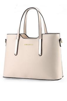 Women Ladies Large Capacity PU Leather Tote Handbag Shoulder Messenger Bag Off-White (Intl) - intl