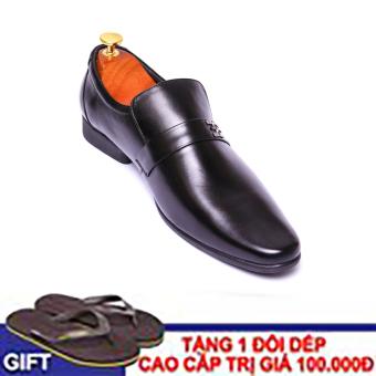 Giày tây nam da thật chính hãng Da Giày Việt Nam VNL25AZ5D-1 (Đen) + Tặng 1 đôi dép