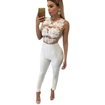Sexy Round Collar Sleeveless Perspective Applique Lace Patchwork Zipper Design Jumpsuit for Women - intl