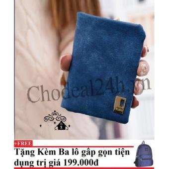 Ví cầm tay vuông nhỏ nhắn cho nữ CDVN02 (xanh dương đậm) + Tặng kèm balo du lịch gấp gọn