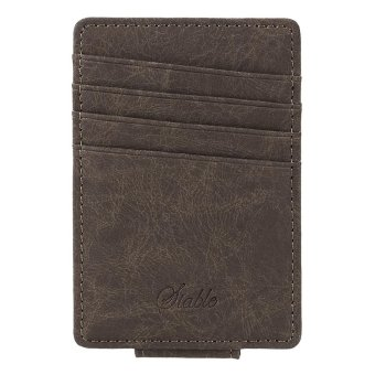 Linemart Men Business Casual Synthetic Leather Wallet Credit Card ID Holder with Magnet Money Clip ( Coffee ) - intl