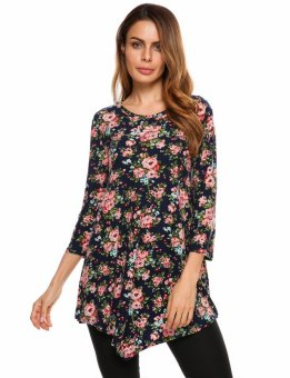 Cyber Women 3/4 Sleeve Floral Print Irregular Casual Loose Fit Tunic Top ( Multicolor ) - intl