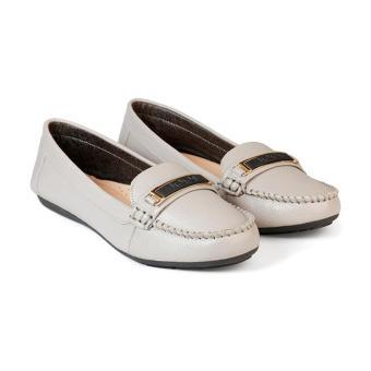 Giày Mọi Nữ Da Bò Đế Bằng HC1380 (Xám)